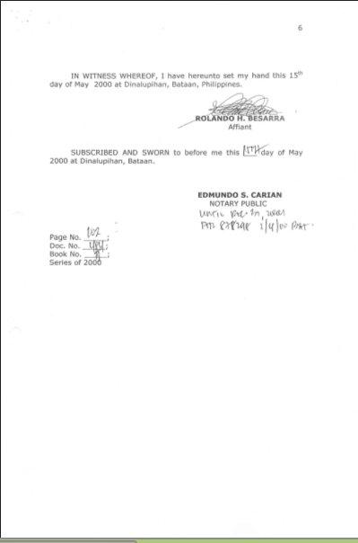 20000501 Affidavit of Rolando M. Basarra page 6